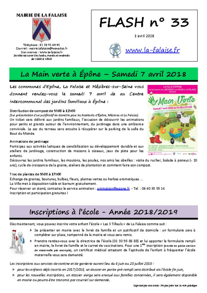 thumbnail of FLASH N° 33 MainVerte InscriptionEcole Info 4G TNT