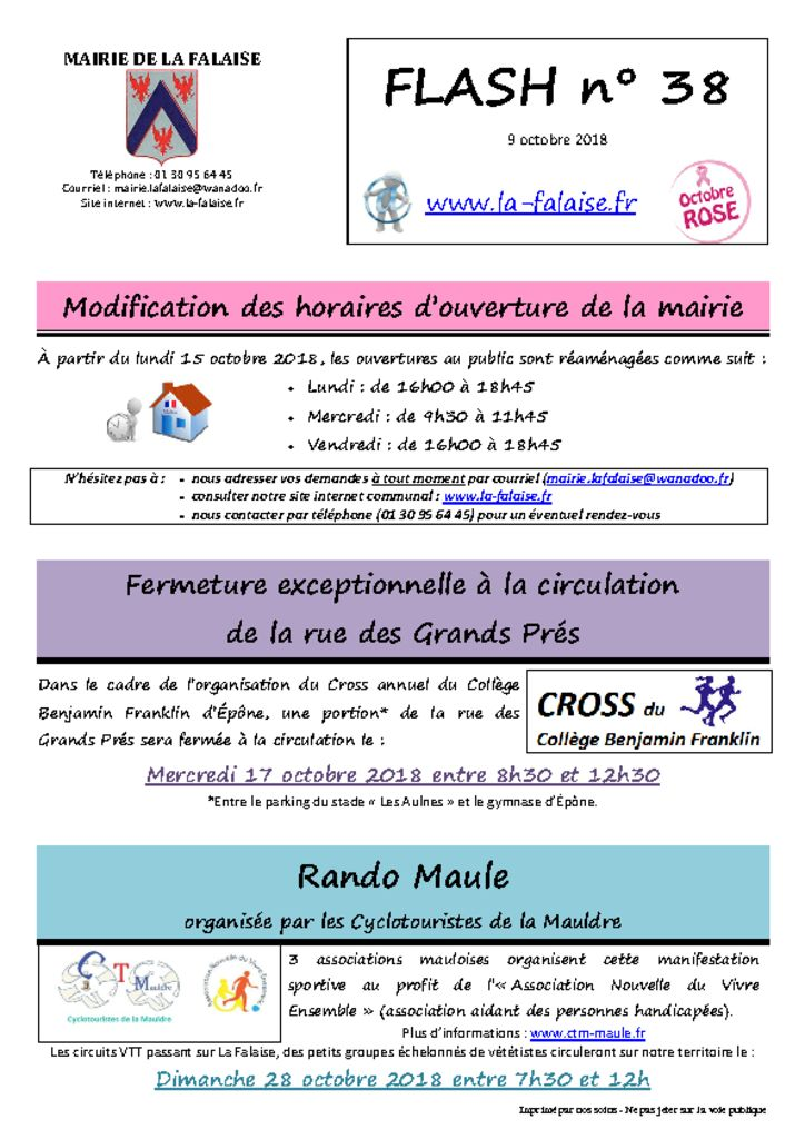 thumbnail of FLASH N° 38 ChgtHoraires CrossCollege RandoMaule OctobreRose PartCommune ColisNoel Sirène Timbres PortageRepas Téléassistance