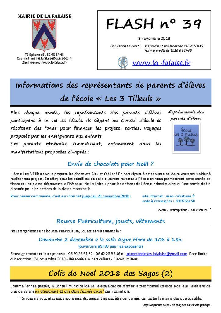 thumbnail of FLASH N° 39 ReprésentantsParentsEcole ColisNoël ProjetMAM InscriptionListesElectorales PartCommune Défibrillateur Chasse NoëlEnfants