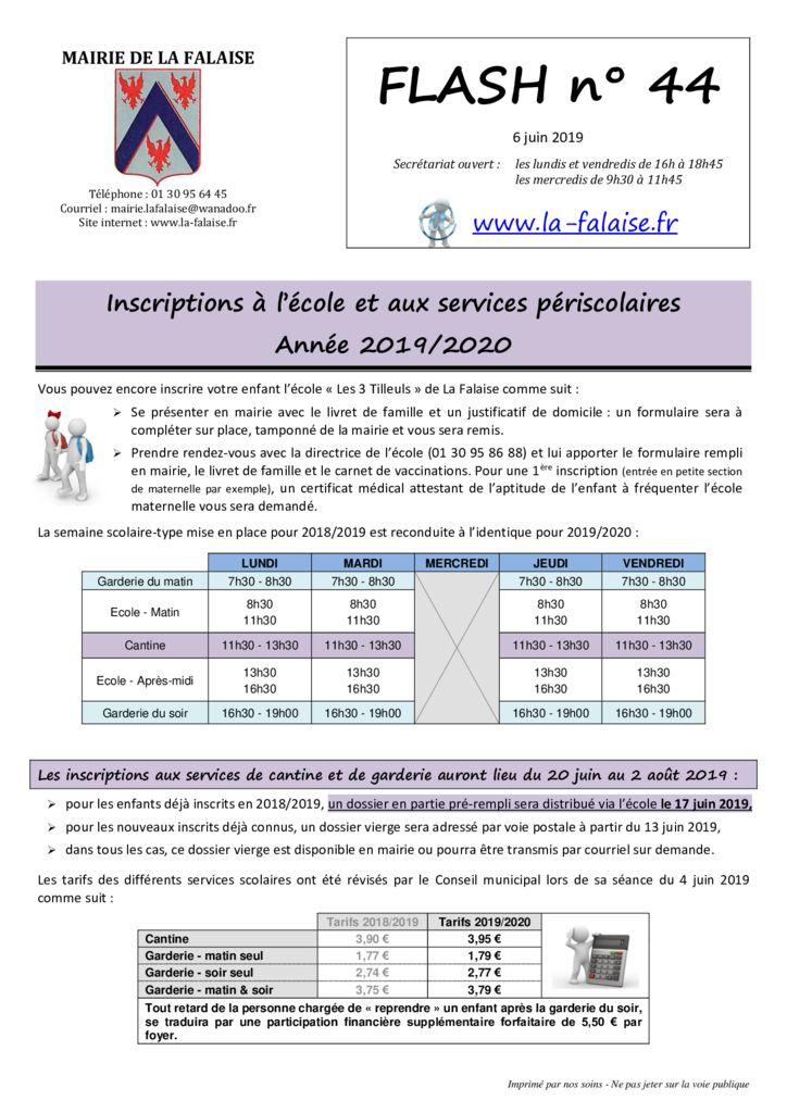 thumbnail of FLASH N° 44 EnquêtePLUi Ecole Sces périscolaires SécuritéRoutièreElizée CalendrierDéchets