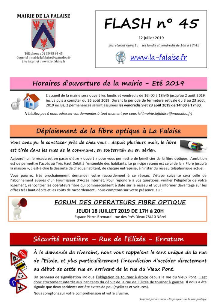 thumbnail of FLASH N° 45 ForumFibreOptique InscEcoleScesPériscol Stage SécuritéElizéeErratum PréventionRoutière EnquêtePLUiGPSeO