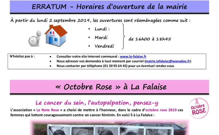 thumbnail of FLASH N° 48 Horaires OctobreRose Coupure Enedis ParticipationsTsport-CLSH BoisChauffage TvxVoirieGPSeO ColisSages Difrran
