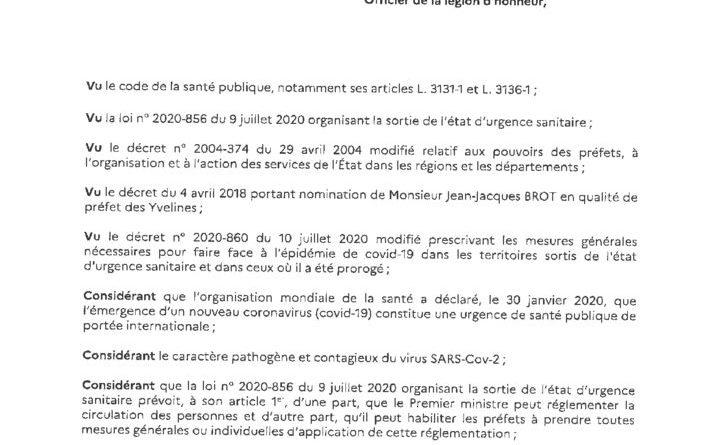 thumbnail of Arrêté préfectoral – interdiction des rassemblements privés de plus de 30 personnes