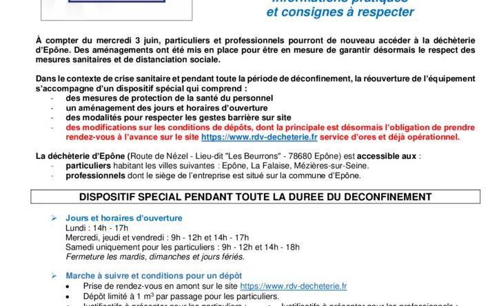 thumbnail of Info Covid-19 – Réouverture déchèterie Epône