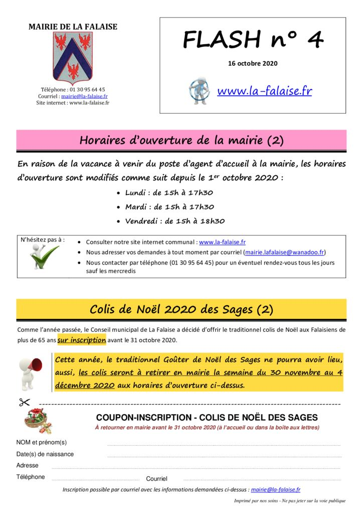 thumbnail of FLASH N° 4 HorairesMairie ColisSages PartCLSH et Tsport ManifetationsNoël MaCommuneMaSanté PréventionRoutière CartePass+